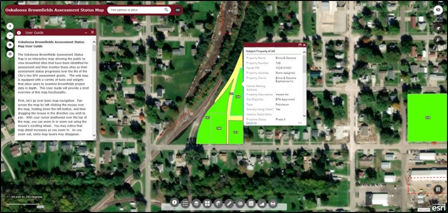 Oskaloosa Brownfields Map Webportal