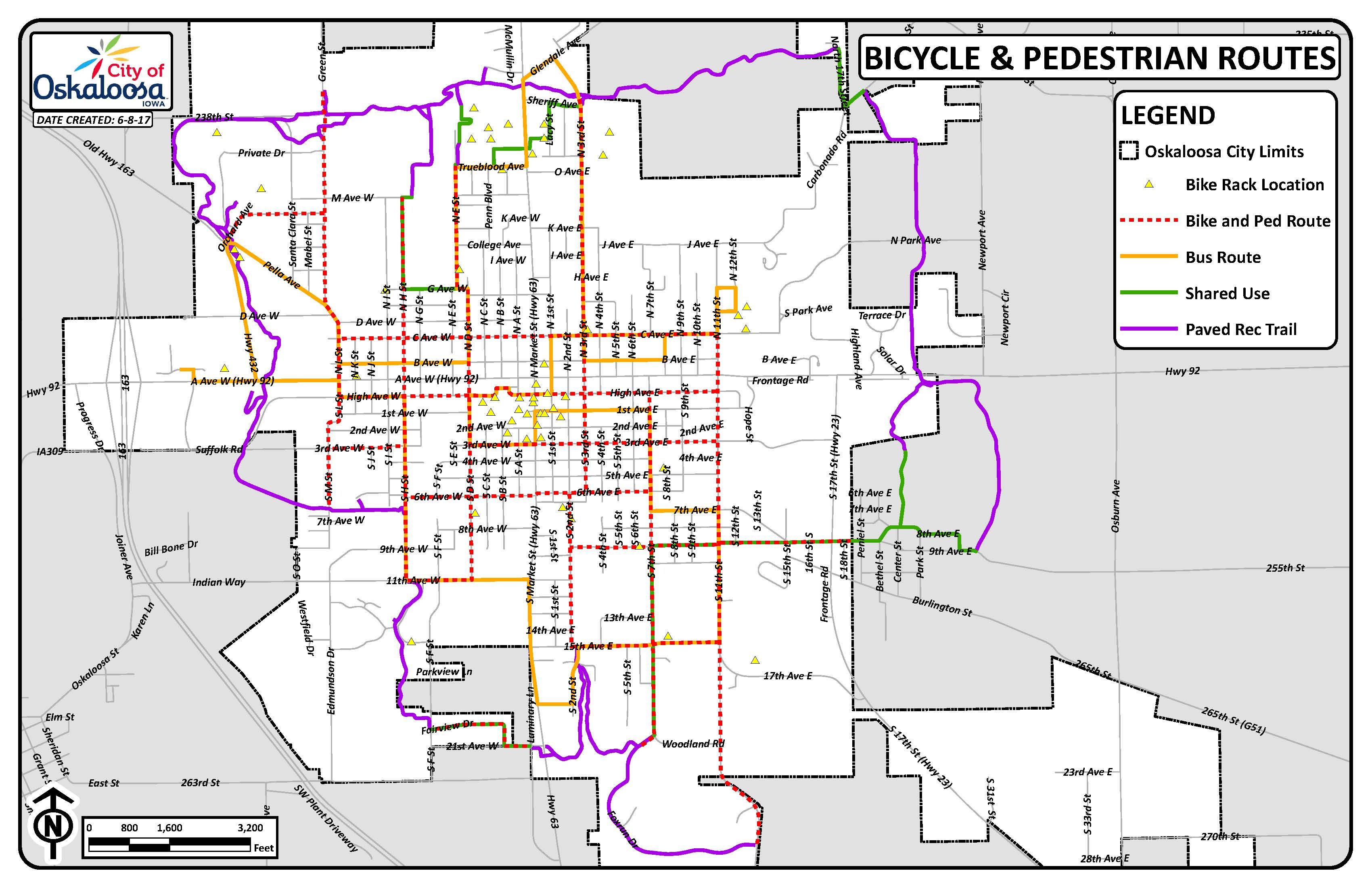 Bike Ped Bus Routes and Racks